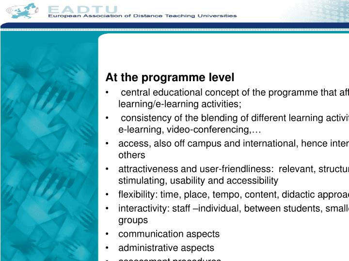 At the programme level
