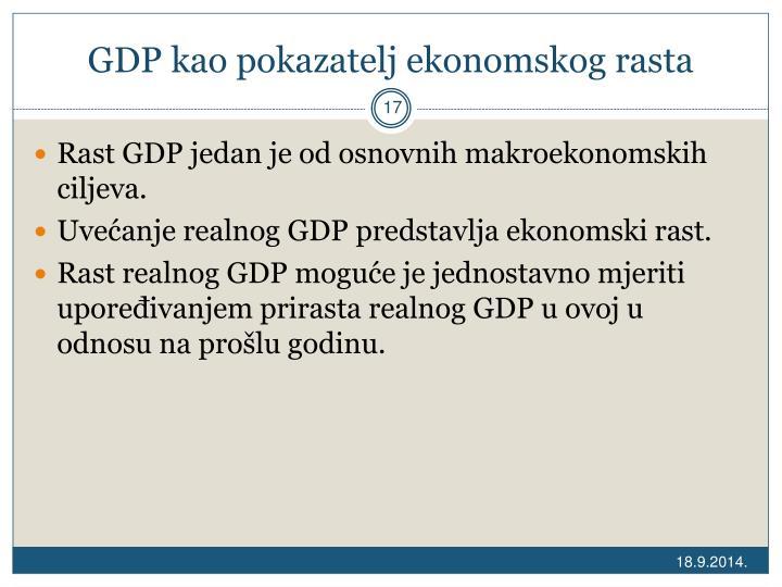 GDP kao pokazatelj ekonomskog rasta