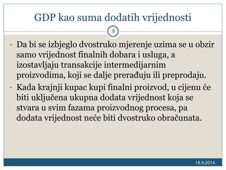 GDP kao suma dodatih vrijednosti