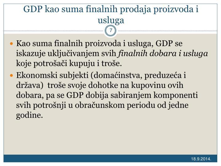GDP kao suma finalnih prodaja proizvoda i usluga