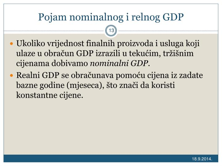 Pojam nominalnog i relnog GDP