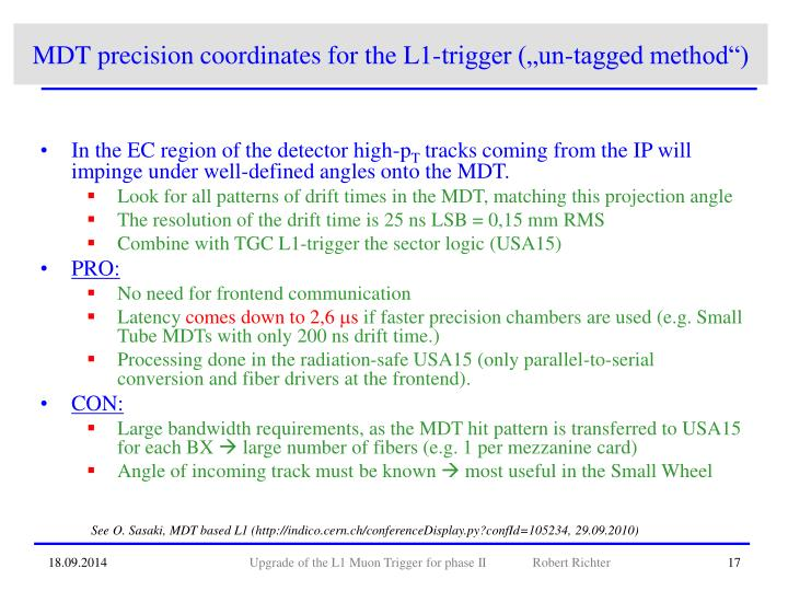 "MDT precision coordinates for the L1-trigger (""un-tagged method"")"