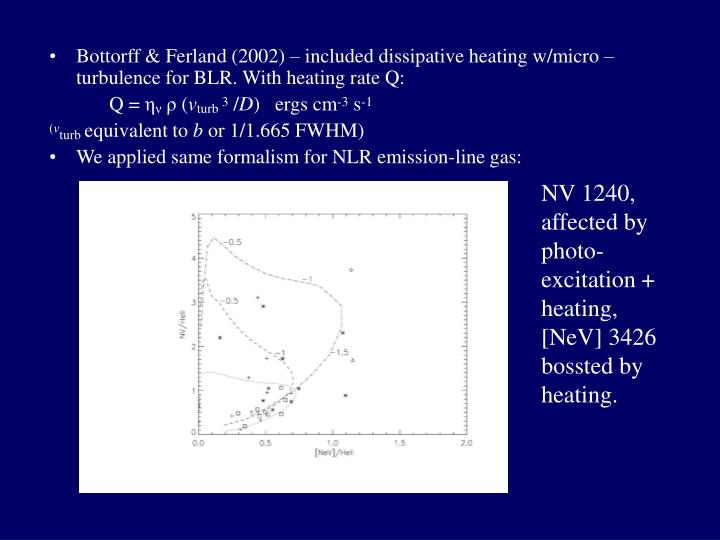 Bottorff & Ferland (2002) – included dissipative heating w/micro –turbulence for BLR. With heating rate Q: