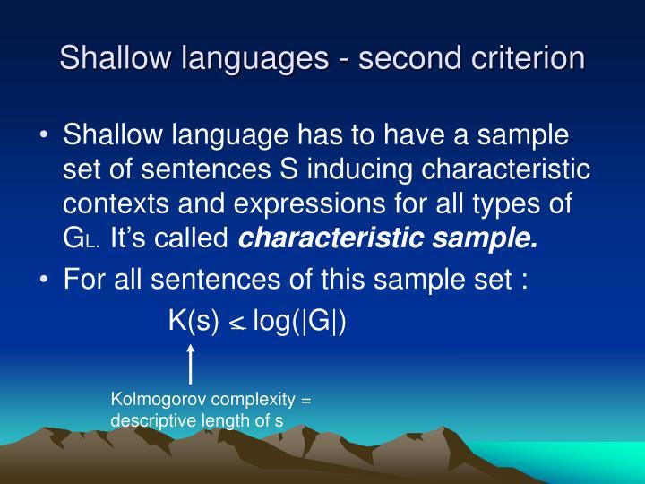 Shallow languages - second criterion