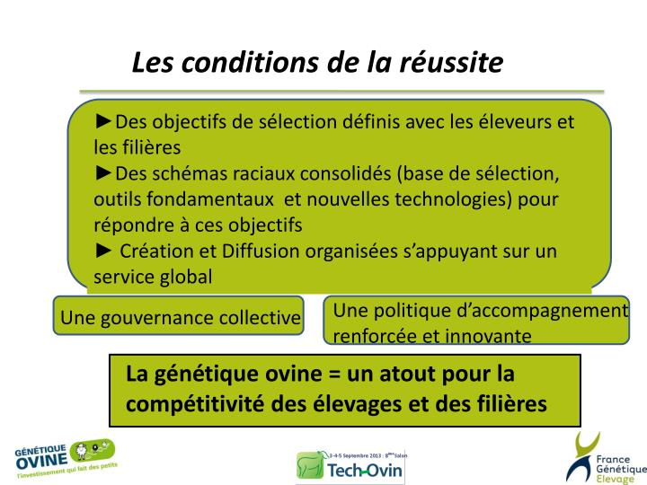 Les conditions de la réussite