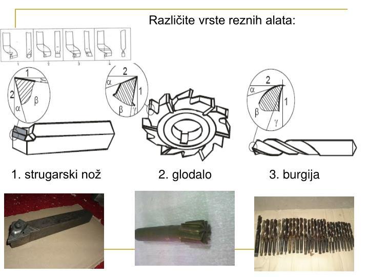 Različite vrste reznih alata: