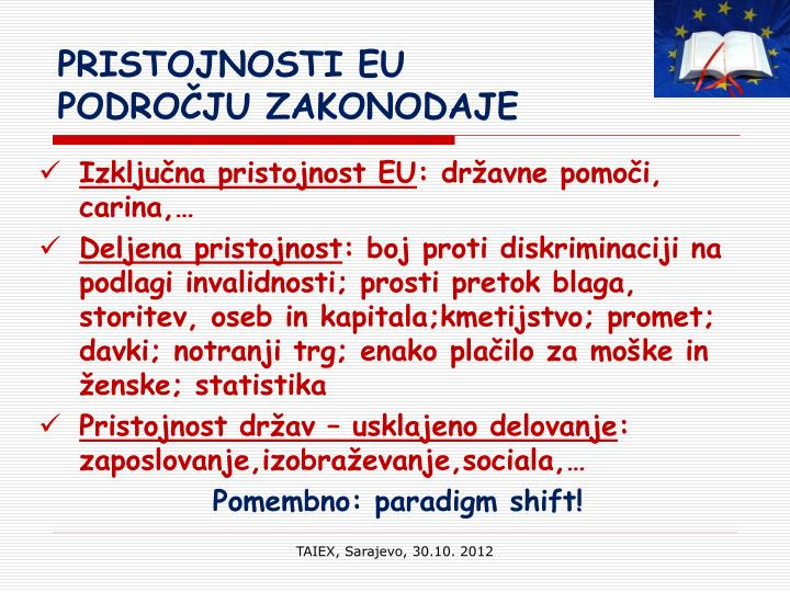 PRISTOJNOSTI EU