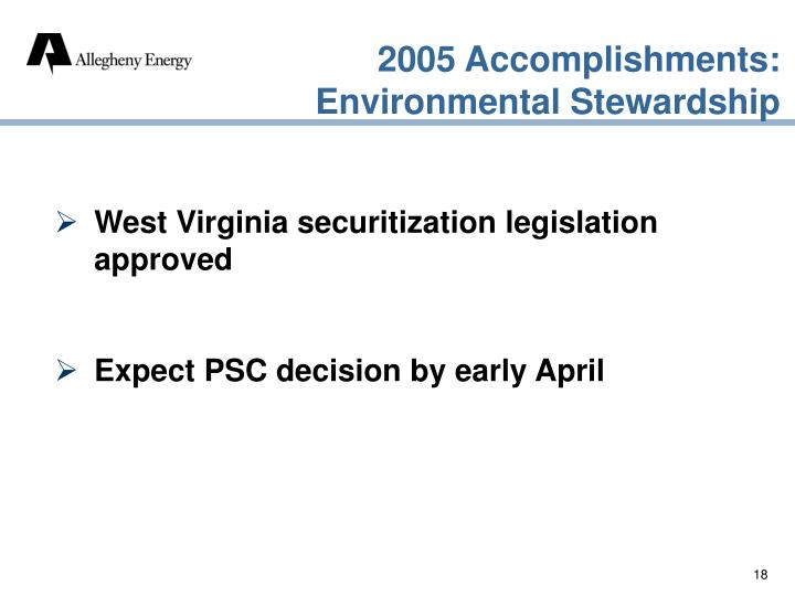 2005 Accomplishments: