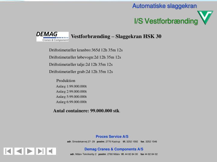 Vestforbrænding – Slaggekran HSK 30