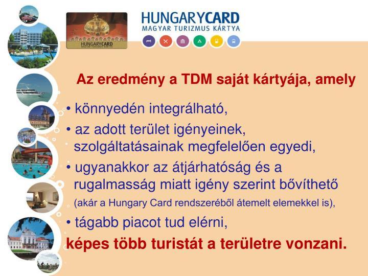 Az eredmény a TDM saját kártyája, amely