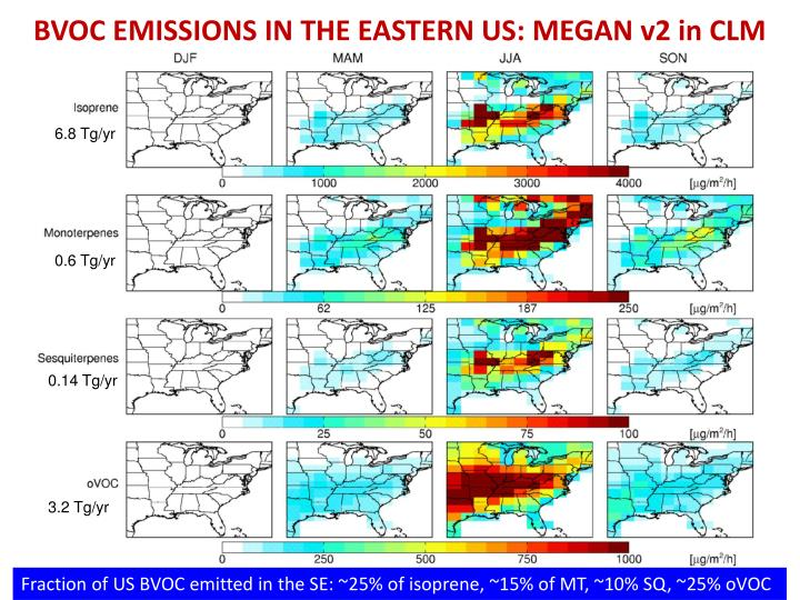 BVOC EMISSIONS IN THE EASTERN US: MEGAN v2 in CLM