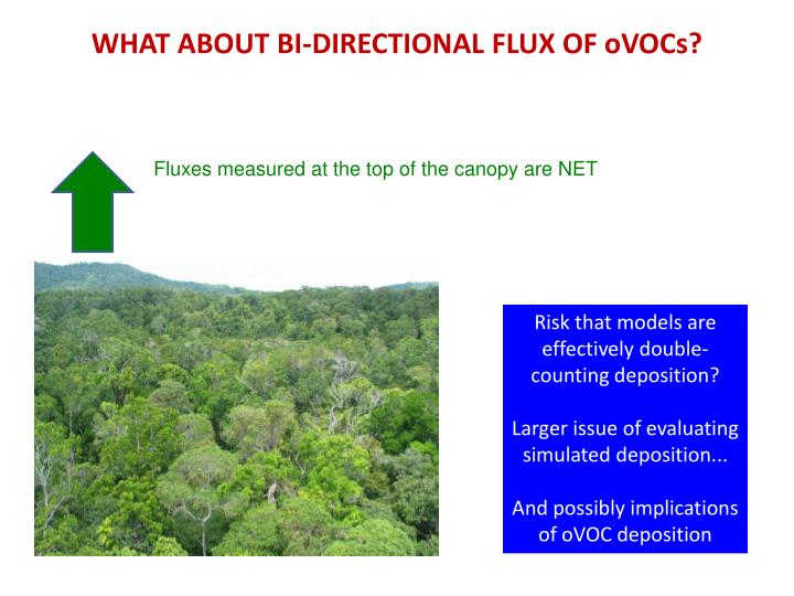 WHAT ABOUT BI-DIRECTIONAL FLUX OF oVOCs?