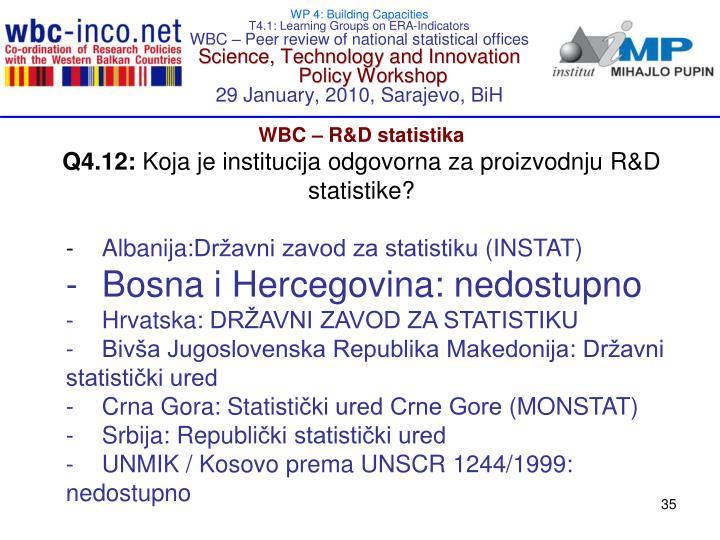 WBC – R&D statisti
