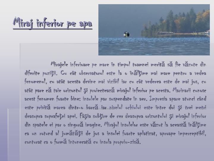 Miraj inferior pe apa
