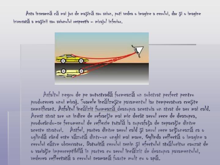 Asta înseamnă că mai jos de maşină sau avion, poti vedea o imagine a cerului, dar şi o imagine inversată a maşinii sau avionului respectiv – mirajul inferior.