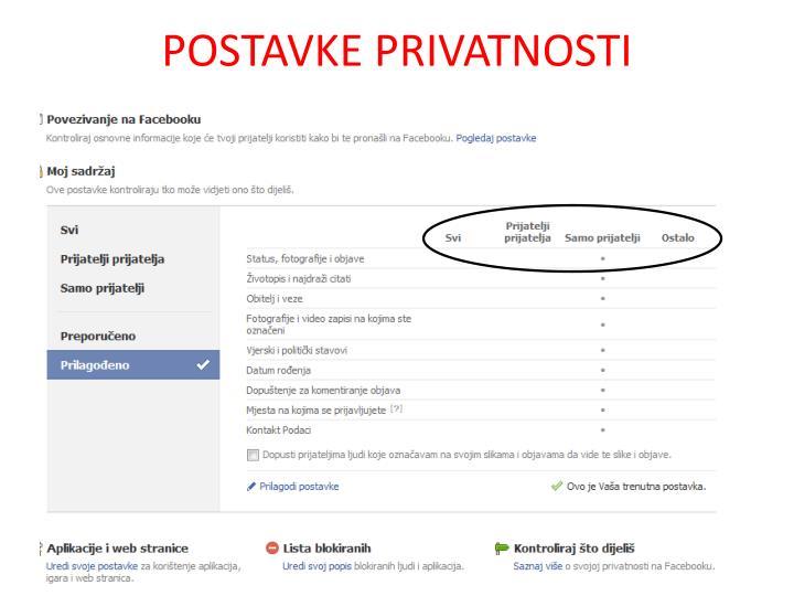 POSTAVKE PRIVATNOSTI