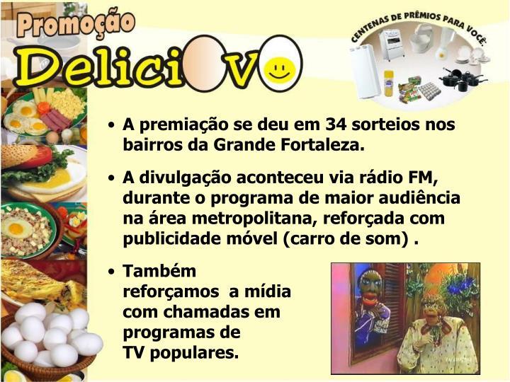A premiação se deu em 34 sorteios nos bairros da Grande Fortaleza.