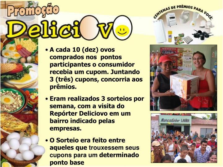 A cada 10 (dez) ovos comprados nos  pontos participantes o consumidor recebia um cupom. Juntando 3 (três) cupons, concorria aos prêmios.