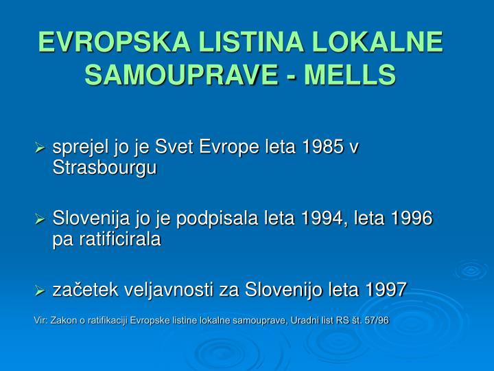 EVROPSKA LISTINA LOKALNE SAMOUPRAVE - MELLS