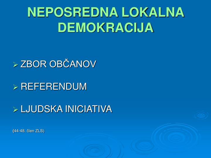 NEPOSREDNA LOKALNA DEMOKRACIJA