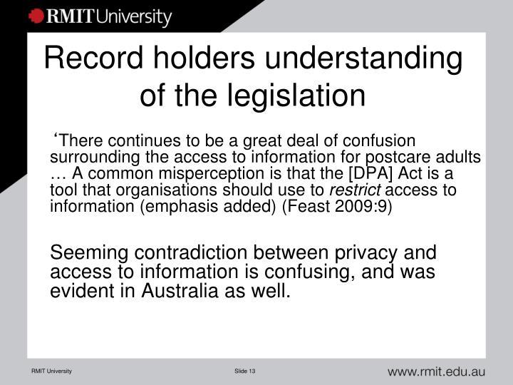 Record holders understanding of the legislation