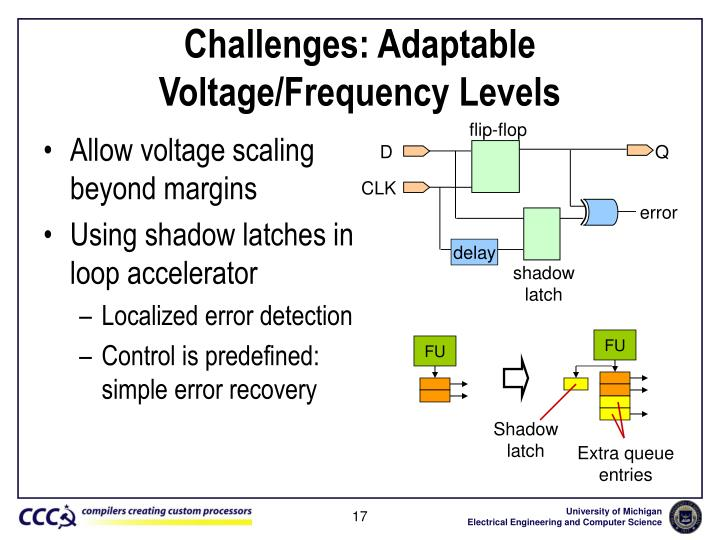 Challenges: Adaptable Voltage/Frequency Levels