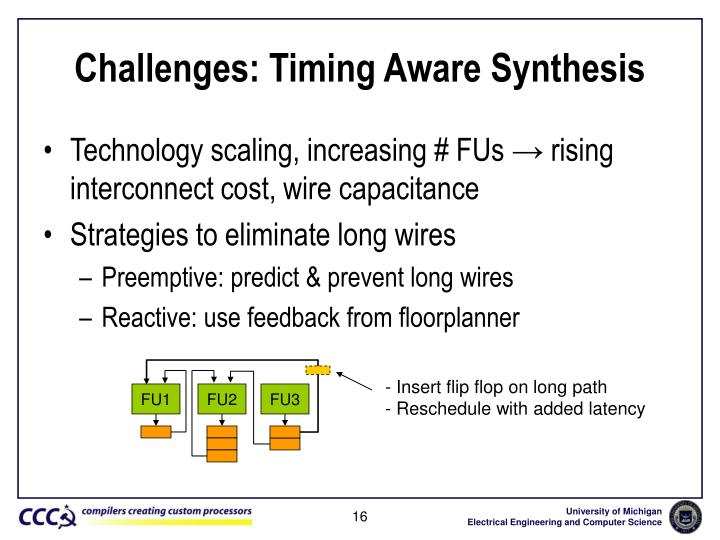 Challenges: Timing Aware Synthesis
