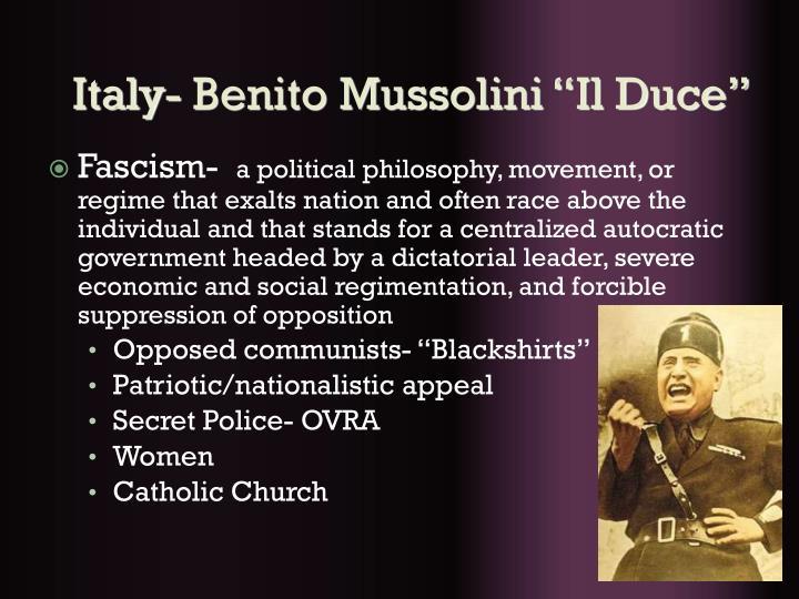 """Italy- Benito Mussolini """"Il Duce"""""""