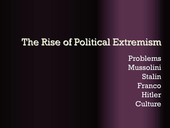The rise of political extremism