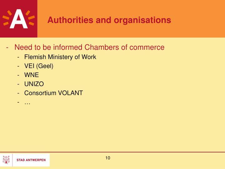 Authorities and organisations