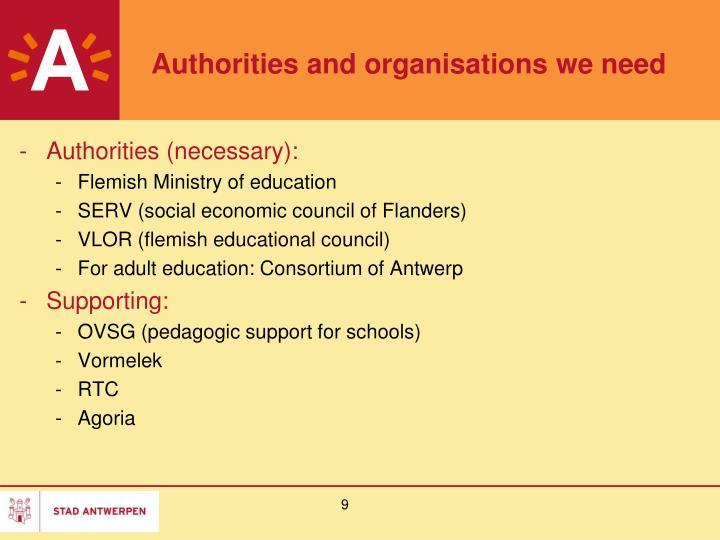Authorities and organisations we need