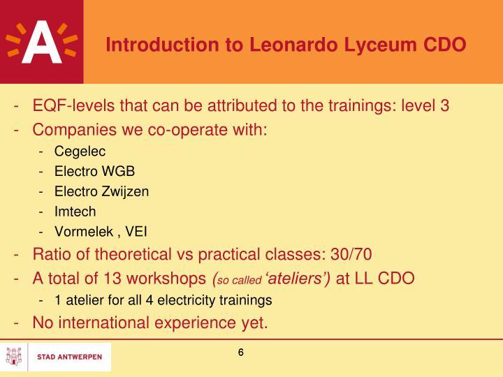 Introduction to Leonardo Lyceum CDO