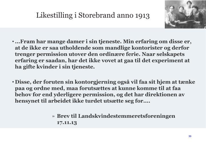 Likestilling i Storebrand anno 1913