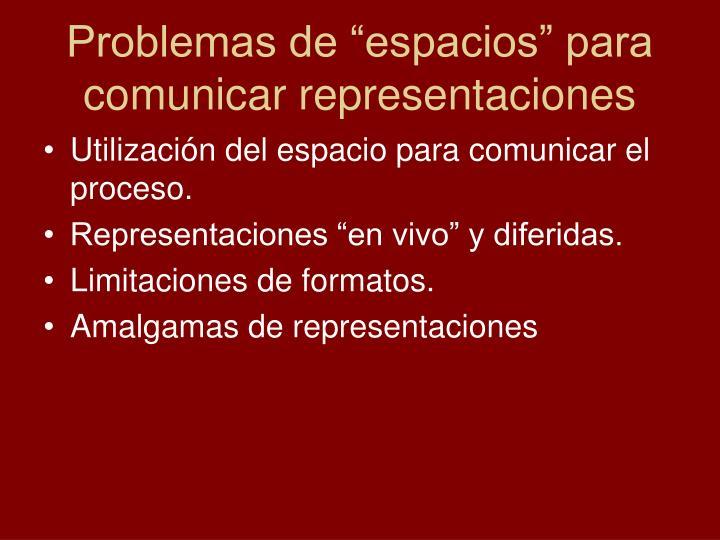 "Problemas de ""espacios"" para comunicar representaciones"