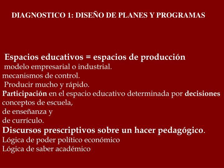 DIAGNOSTICO 1: DISEÑO DE PLANES Y PROGRAMAS