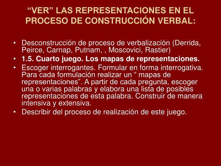 """""""VER"""" LAS REPRESENTACIONES EN EL PROCESO DE CONSTRUCCIÓN VERBAL:"""