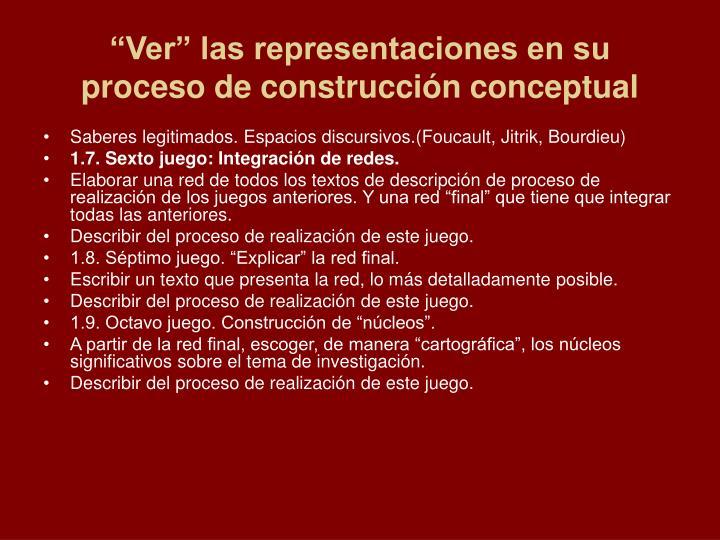 """""""Ver"""" las representaciones en su proceso de construcción conceptual"""