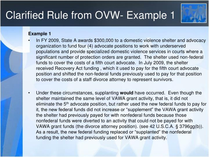 Clarified Rule from OVW- Example 1