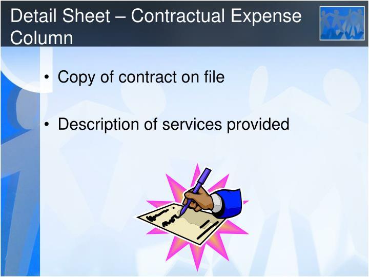 Detail Sheet – Contractual Expense Column