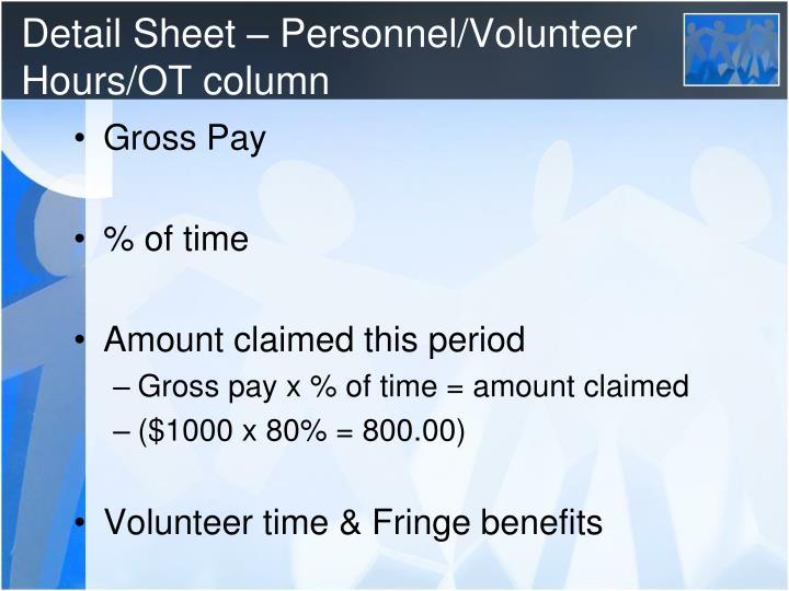 Detail Sheet – Personnel/Volunteer Hours/OT column