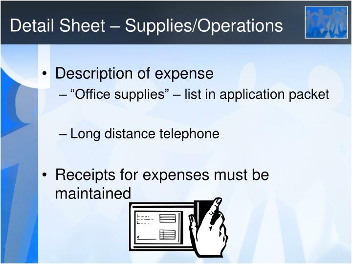 Detail Sheet – Supplies/Operations