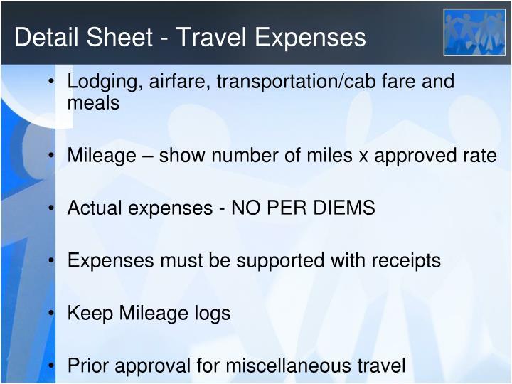 Detail Sheet - Travel Expenses