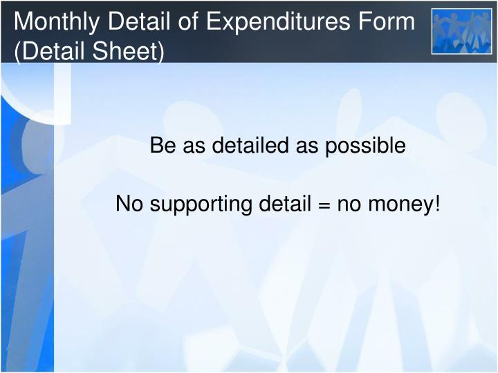 Monthly Detail of Expenditures Form (Detail Sheet)