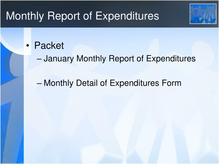 Monthly Report of Expenditures