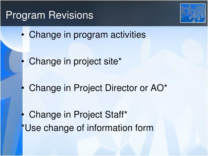 Program Revisions
