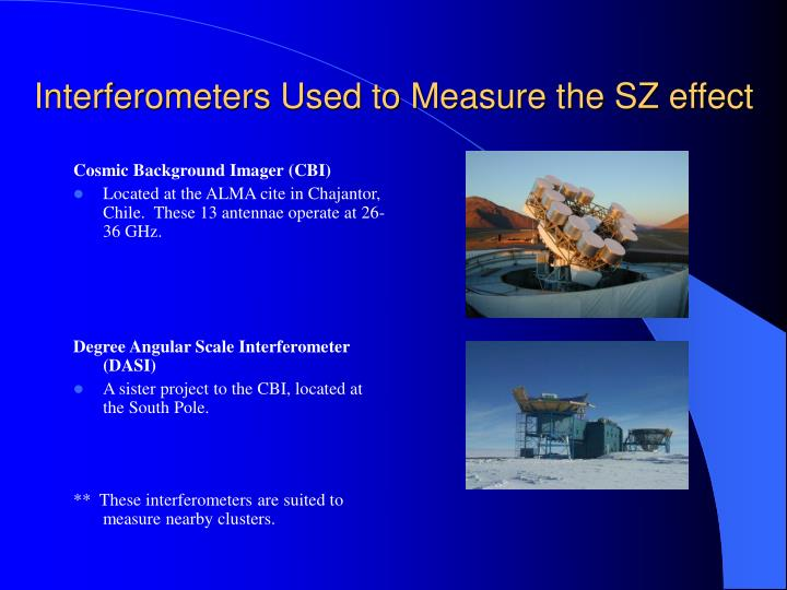 Interferometers Used to Measure the SZ effect