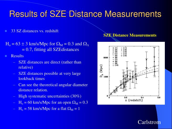 Results of SZE Distance Measurements