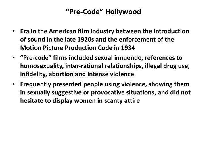 """Pre-Code"" Hollywood"