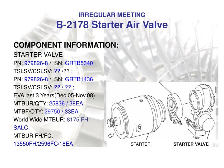 Irregular meeting b 2178 starter air valve