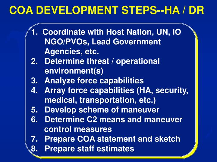 COA DEVELOPMENT STEPS--HA / DR